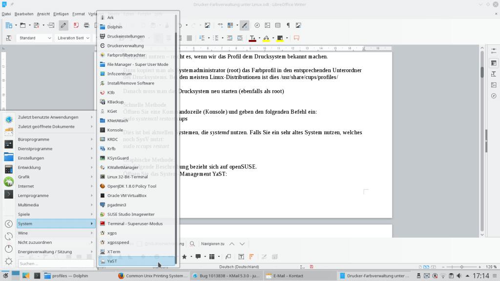 01 Linux Drucken ICC Profil Systemmanagement YaST
