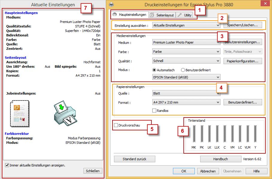 Eigenschaften Fenster des Epson Stylus Pro 3880