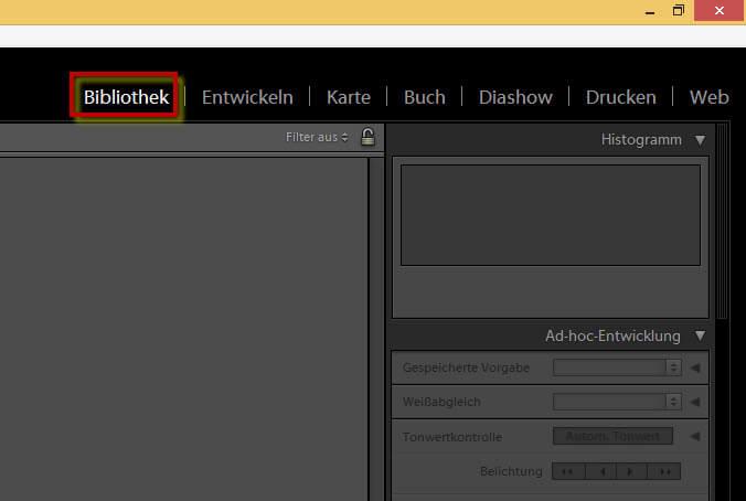 Öffnen der Bibliothek im Adobe Photoshop Lightroom 5