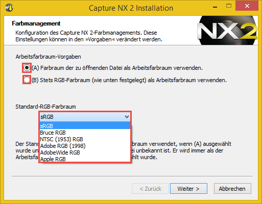 Nikon Capture NX2 - Farbmanagement