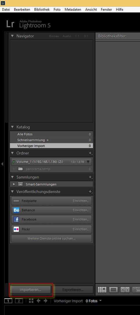 Importieren von Bildern in Adobe Lightroom
