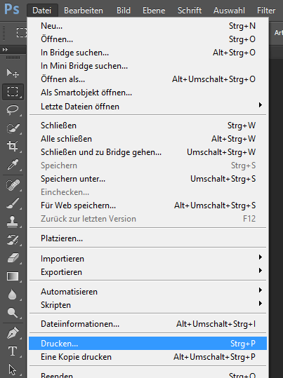Datei drucken in Adobe Photoshop CC