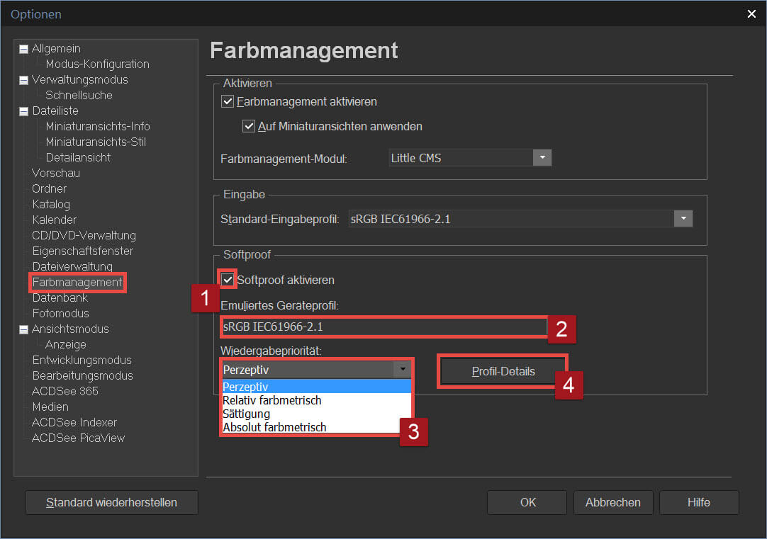 03 ACDSee Softproof Optionen Farbmanagement