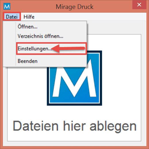Mirage - Datei - Einstellungen...