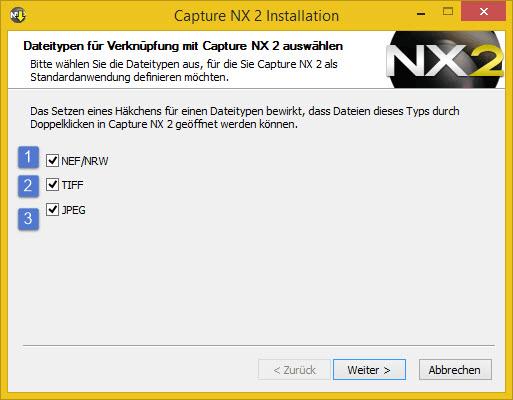 Nikon Capture NX2 - Dateitypen auswählen