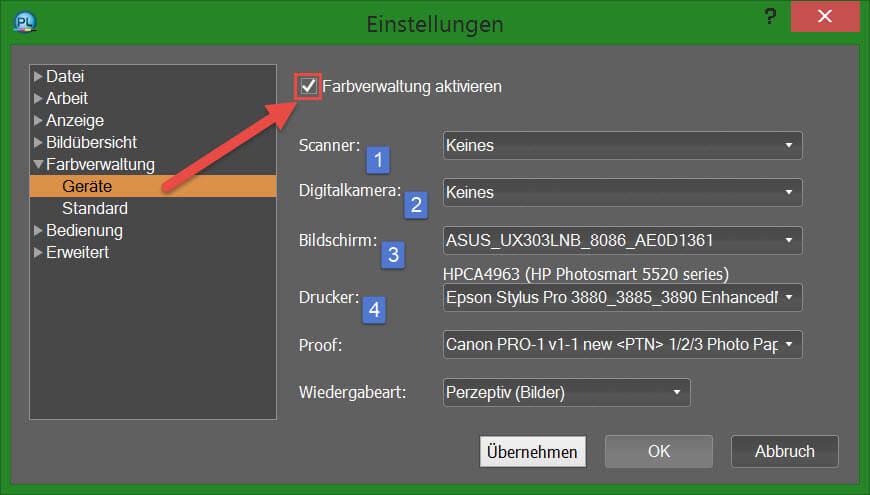 PhotoLine - Geräte-Einstellungen