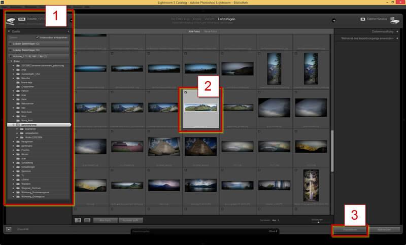 Darstellung des Fensters und der Auswahl für den Bildimport in Adobe Photoshop Lightroom 5