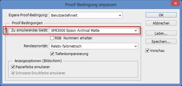 Das zu simulierende Gerät für den Softproof aussuchen im Adobe Photoshop CS6