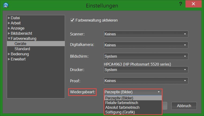 PhotoLine - Wiedergabeart