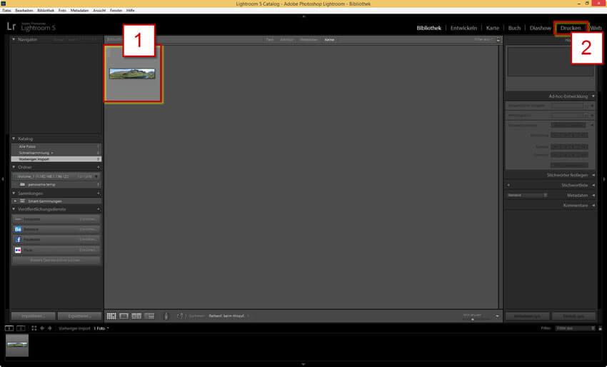 Markieren und Drucken einer Datei in Adobe Photoshop Lightroom 5