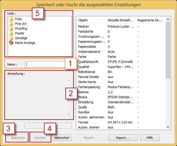 Fenster zum Speichern der ausgewählten Einstellungen des Epson Stylus Pro 3880