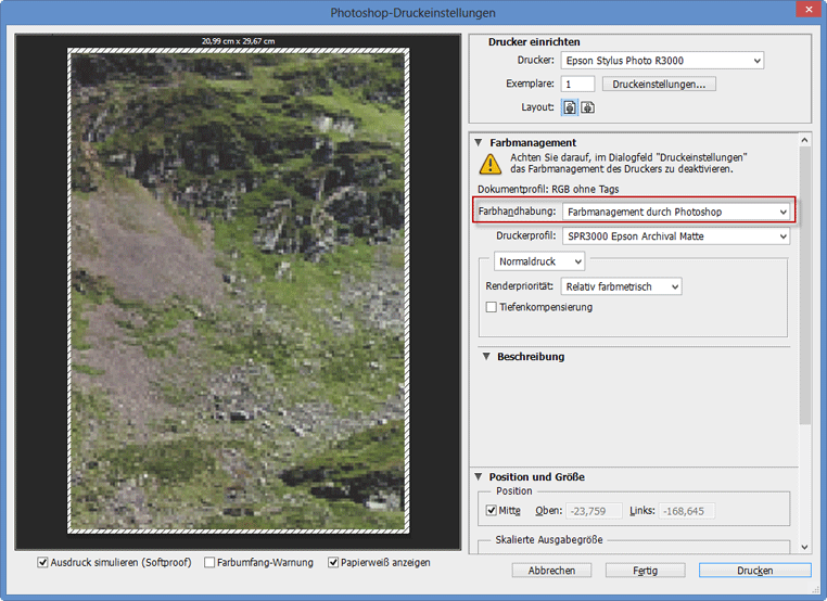 Farbmanagement durch Photoshop CC