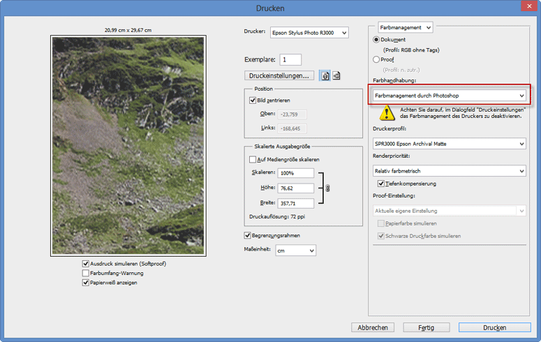 Farbmanagement durch Photoshop CS6 und CS5