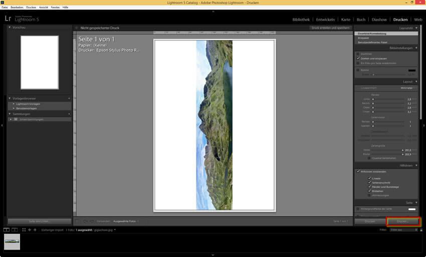 Drucker einrichten im Adobe Photoshop Lightroom 5