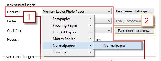 Papier wählen über die Eigenschaften des Epson Stylus Pro 3880
