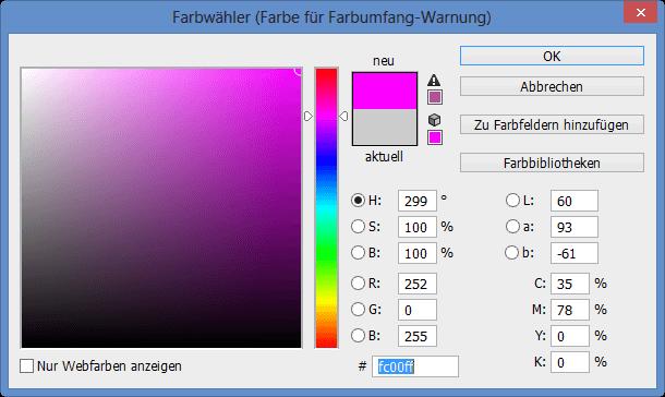 Farbwähler für die Farbe der Farbumfang-Warnung