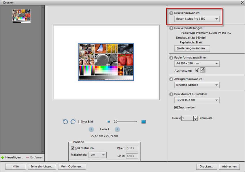 Drucker auswählen im Adobe Photoshop Elements