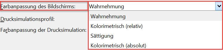 Farbanpassung d. Bildschirms