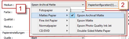 Papier wählen über die Eigenschaften