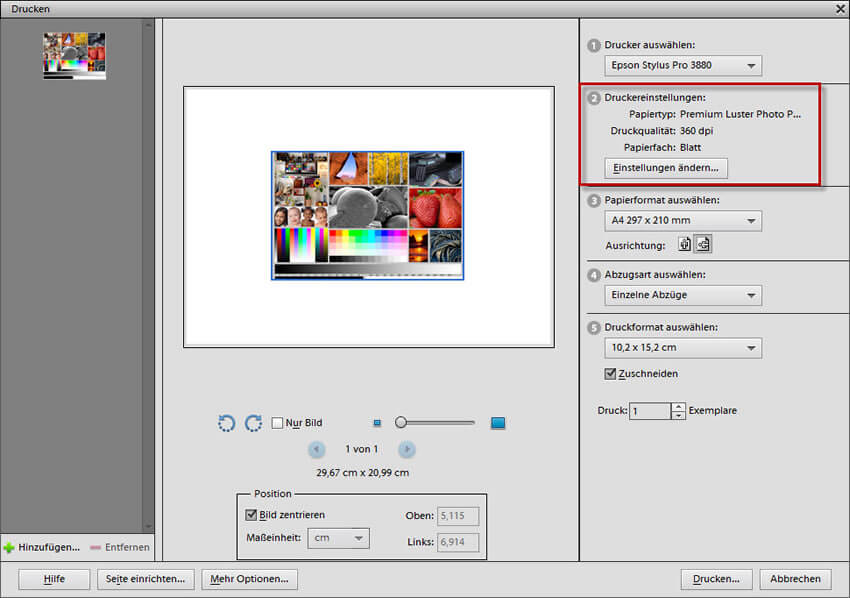 Druckereinstellungen im Adobe Photoshop Elements