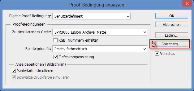 Proof-Bedingung speichern im Adobe Photoshop CS6 und CS5