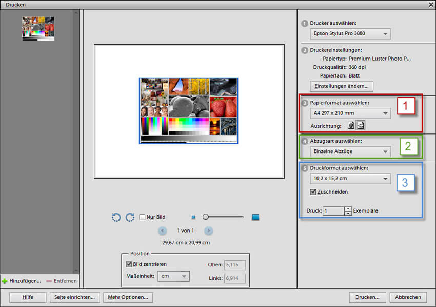 Weitere Druckeinstellungen in Adobe Photoshop Elements