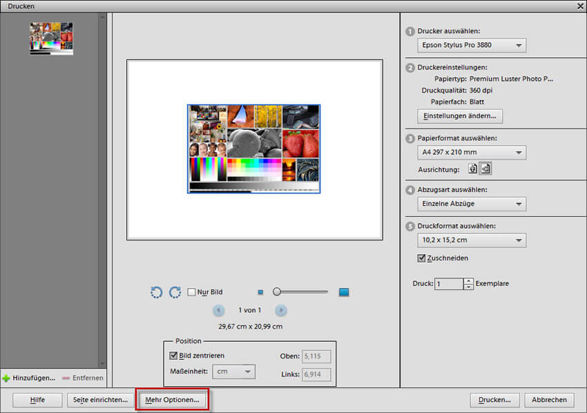 Mehr Optionen für den Druck in Adobe Photoshop Elements