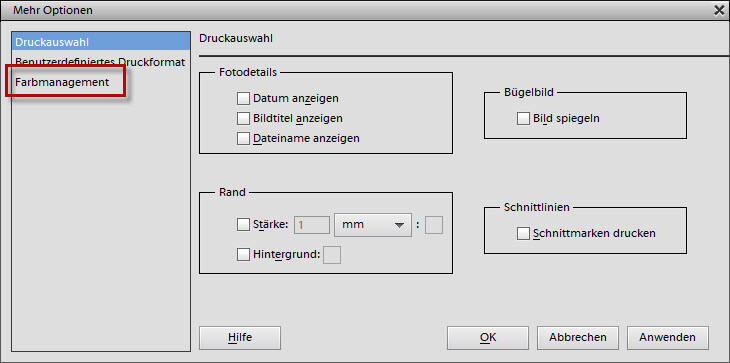 Mehr Optionen/Farbmanagement in Adobe Photoshop Elements