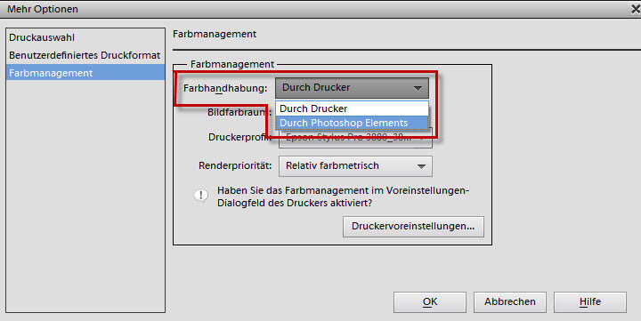 Farbmanagement durch Photoshop Elements