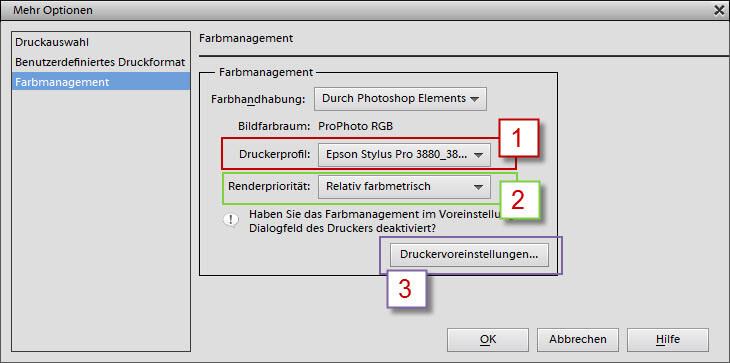 Druckerprofil, Renderpriorität, Druckervoreinstellungen auswählen im Adobe Photoshop Elements