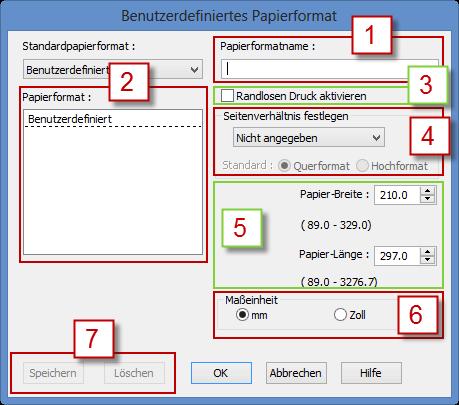 Benutzerdefiniertes Papierformat