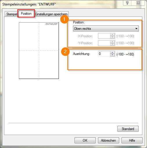 Canon Pixma Pro 100 Seite einrichten_Stempeleinstellungen_Position