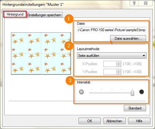 Canon Pixma Pro 100 Seite einrichten_Hintergrundeinstellungen_Hintergrund