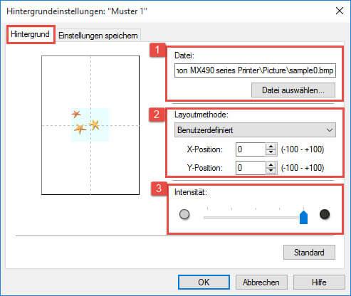 Canon Mg 6400_6450 Seite einrichten_Hintergrundeinstellungen