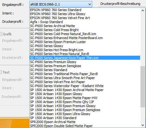 EPSON Drucker Farbmanagement/Eingabeprofil
