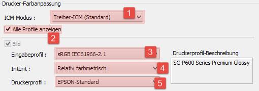 EPSON Drucker Farbmanagement/ICM