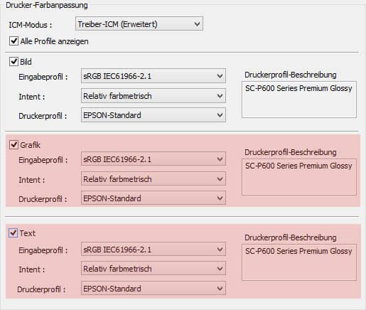 EPSON Drucker Farbmanagement/ICM/erweitert