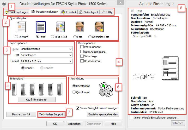 EPSON Stylus Photo 1500 Series - Druckeinstellungen