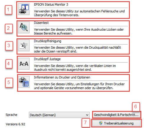 EPSON Stylus Photo 1500 Series: Erweitert/Übersicht
