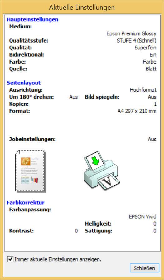 EPSON Stylus Photo R2000_Aktuelle Einstellungen