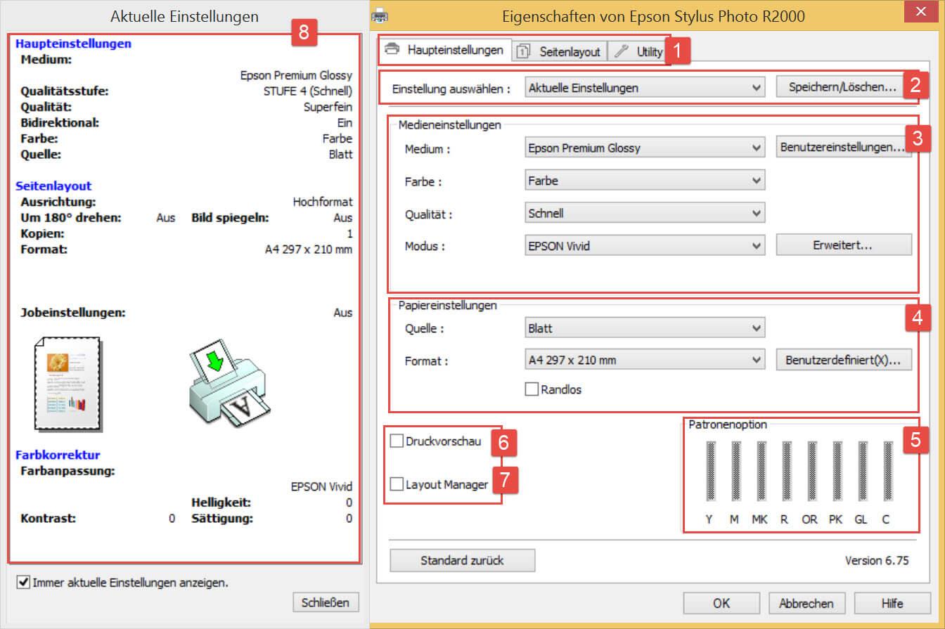 EPSON Stylus Photo R2000_Haupteinstellungen