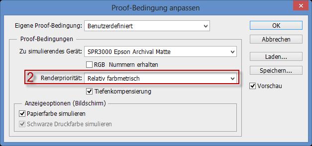 Wahl der Renderpriorität für die Proof-Bedingung im Adobe Photoshop CC