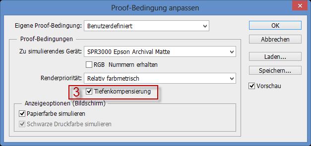 Wahl der Tiefenkompensierung für die Proof-Bedingung im Adobe Photoshop CC