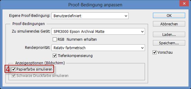 Papierfarbe simulieren für die Proof-Bedingung im Adobe Photoshop CC