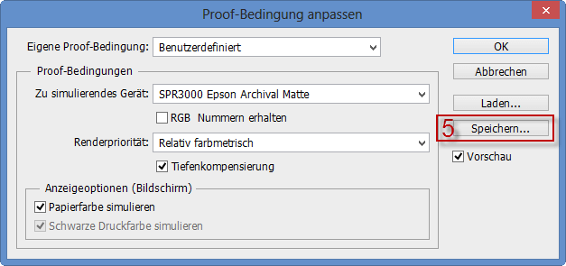 Speichern der Proof-Bedingung im Adobe Photoshop CC