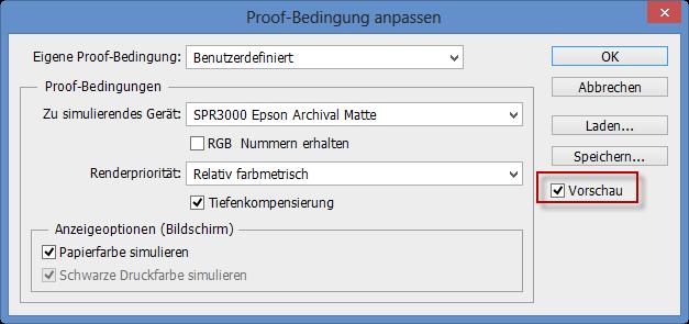 Ein-/Ausschalten der Vorschau für die Proof-Bedingung im Adobe Photoshop CC