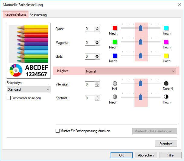 Schritt 2 Manuelle Farbeinstellung Canon MG 6400 6450