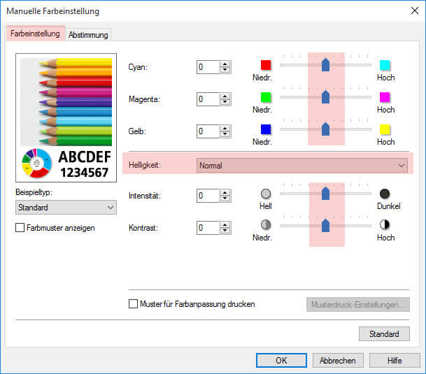 Schritt 2 Manuelle Farbeinstellung Canon iP 6800 6850