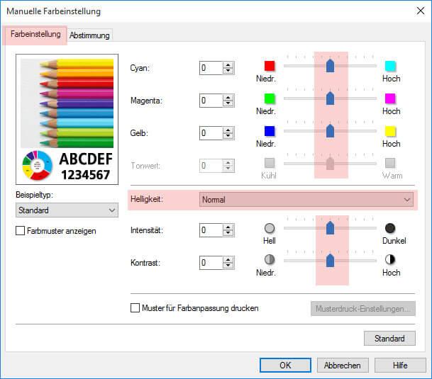 Schritt 2 Optionen Manuelle Farbeinstellung Canon Pixma iP 7200 7250