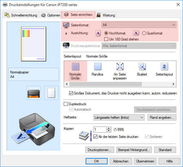 Schritt 3 Seite einrichten Canon Pixma iP 7200 7250